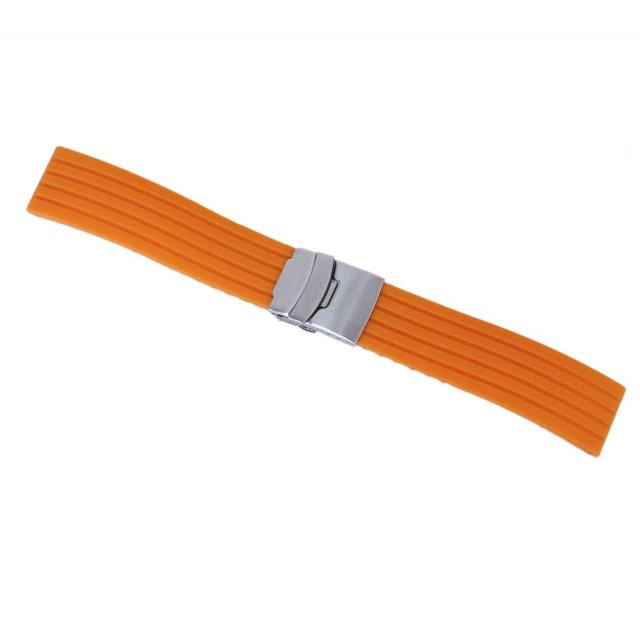 hot! Orange Silicone Rubber Watch Strap Band Deployment Buckle Waterproof 20mm