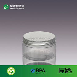 Manufactures china supplier plastic jar for packaging with aluminium caps pet jar hot sale plastic cosmetic bottle