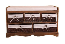 New Style Product Entryway Bench with Storage Basket and Cushion