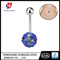 YC - Free Sample Cheap Titanium Steel Belly Navel Ring 316 Stainless Steel Anti-allergy lndustrial Barbell Button Belly Ring