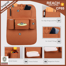 FH232 China Factory Travel Felt Back Seat backseat Car Organizer With Storage Pouch Wholesale