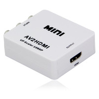 Free shipping 1PCS/lot CVBS/RCA/AV to HDMI converter scaler 1080p adapter with USB power supply