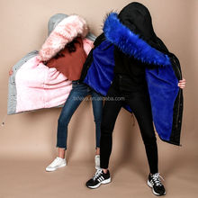 Wholesale Winter Fake Fur Lined Parka with Hood for Women Men Real Fox Raccoon Fur Parka