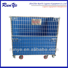 Wire mesh pallet container with PP sheets for auto parts storage wire mesh container
