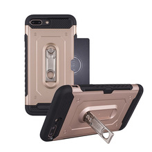 Fashion Hybrid TPU PC Card Slots Kickstand Case For iPhone 7 Plus 8 Plus