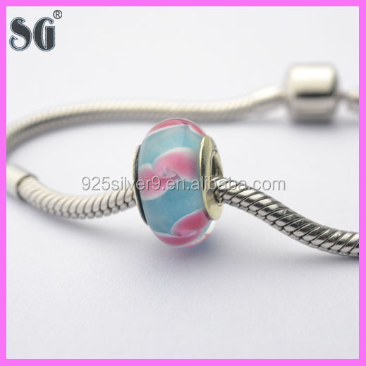 2016New Charms Big hole Lampwork Glaze Beads Glass Bead Fit European Brcaelet And Diy Bead PDBS60(11)