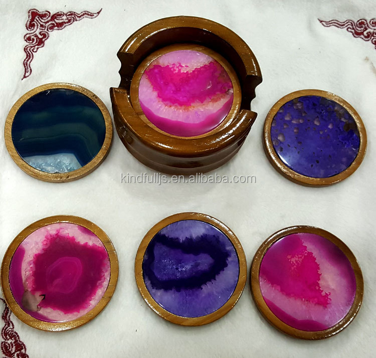 Beautiful Colored Agate Coaster Sets Crystal Gifts Sets