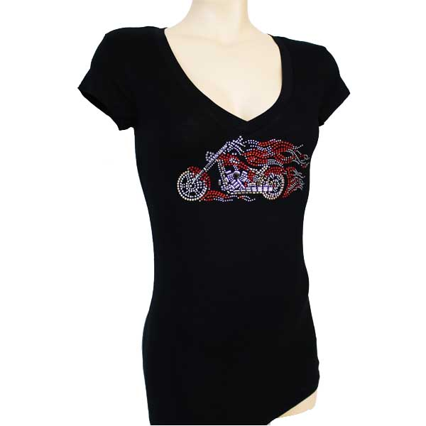Cool Motorcycle Design T-shirt Iron-on Transfer Rhinestone