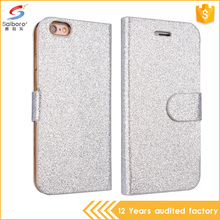New Business Wallet Stand Design Glitter Leather Phone Case For Iphone 6 With 2 Card Holders Flip Cover