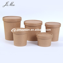 Easy Take Food Away Disposable Kraft Paper Hot Soup Cup bowls noodle Food Container with Lid