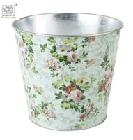 printed zinc galvanized flower pot classical rose print
