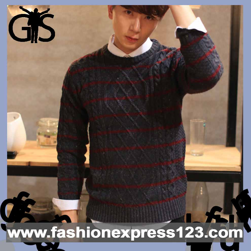 2016 men pullover Tailored fit with stripe mixed colour sweater