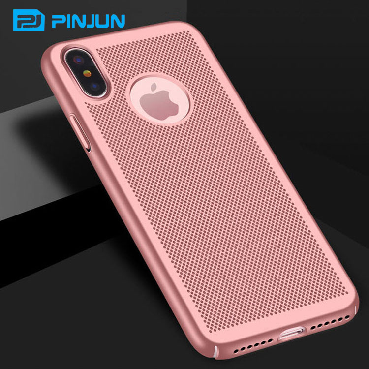 Hard mesh/net design pc phone case for iphone x,heat dissipation Dot Plastic Cover Ultra Thin Case For iPhone 8 Phone X/10