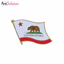 Making Custom Gold Plated Soft Enamel California Republic Flag Lapel Hat Pin