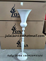 Tall metal white color flower stand with glass candle holder flower vase for Wedding table centerpiece decoration