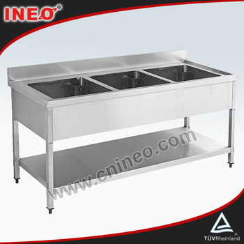Free Standing 3 Bowl Commercial Stainless Steel Sink Kitchen With Under Shelf