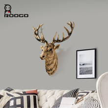 ROOGO Customized artificial resin carved deer head large 3d animal head hanging decor