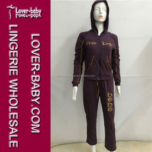 Dark Purple Letters Printed Long Sleeves Sweat and Pant Set New Wholesale Ladies Casual Wear Casual Woman Tracksuit L28004