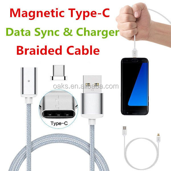 1M Nylon Braided USB 3.1 Type C Magnetic USB Charging Cable