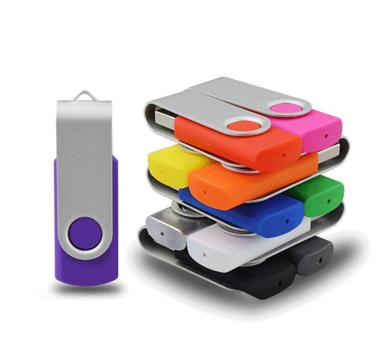 64 GB swivel usb flash drive with round tin
