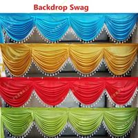 Custom Made 6 meter length wedding backdrop Swag Ice Silk 20ft party drape with tassel many color swag wedding decoration