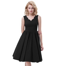 Belle Poque Sleeveless V-Neck High Stretchy A-Line Black Retro Vintage Rockabilly 50s 60s Dress BP000269-1