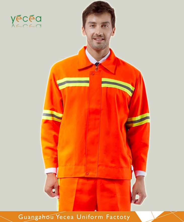 Outdoor Cleaning worker Safety Fluorescence Reflective High light jacket & pant style uniform Custom design logo workwear