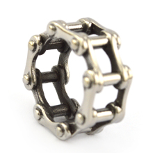 wholesale 316L stainless steel biker rings for mens wedding rings with cheap price in shape of motorcycle chain link