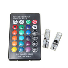 Multi Colors LED Lamp Bulb Colorful Auto Car Interior Lights with Remote Control t10 rgb led car light