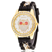 Owl style hot selling alibaba express diamond chain watch women silicone band vogue watch