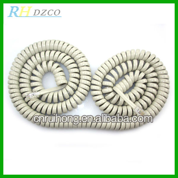 Automotive Copper Core RJ11 Telephone Spring Cable,Coiled Cord