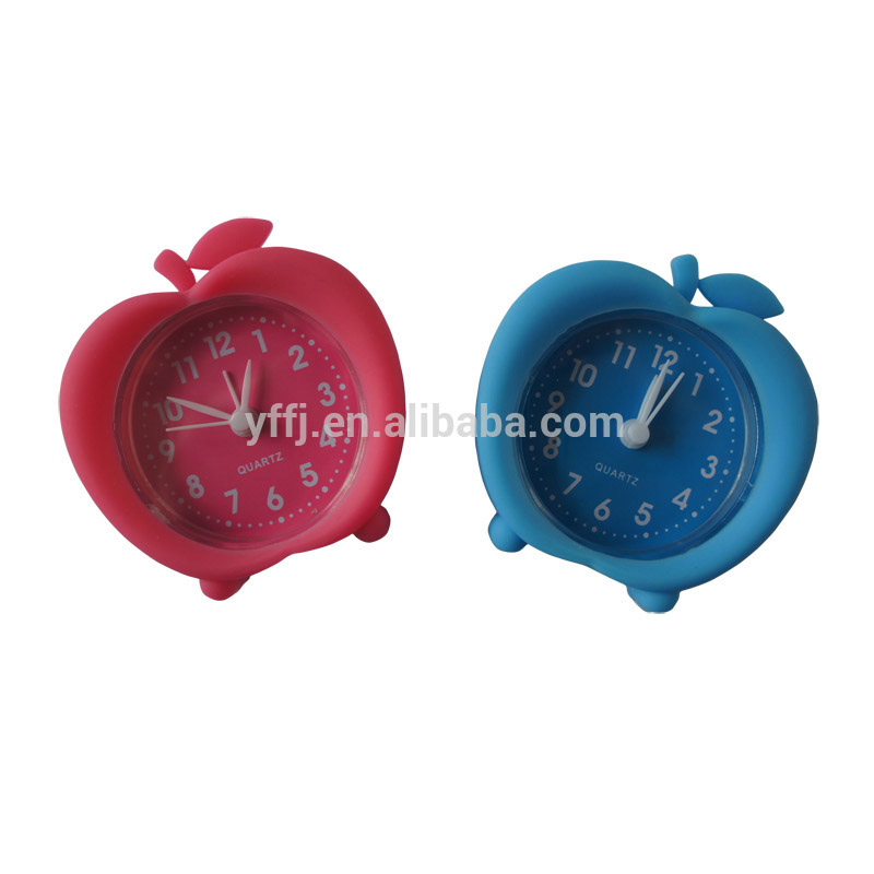 apple shape silicone time clock with alarm