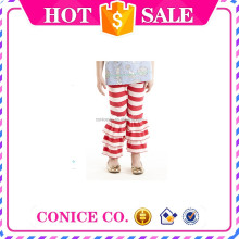 2015 new arrival boutique triple ruffle pants Autumn cotton strip long pants for baby girls