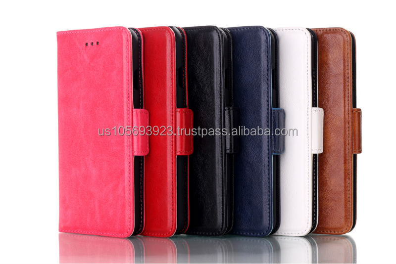 Plain Oil Coatting Design Flip case with Credit holder 6 colors for Iphone6
