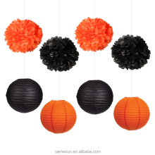 Black Orange Paper lantern Halloween Party Paper Set