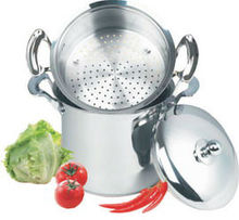 Stainless steel couscous pot with casting handle