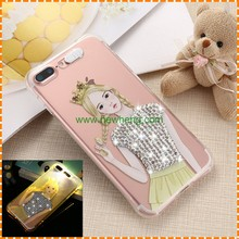 High quality Cartoon pattern LED calling flash diamond transparent tpu phone case for iphone 7