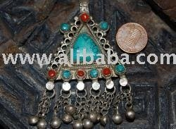 Old Silver Kuchi Turquoise and Coral Pendant