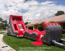 18ft Inflatable Water Slide with Slip and Slide,Red Inflatable Volcano Slide for sale