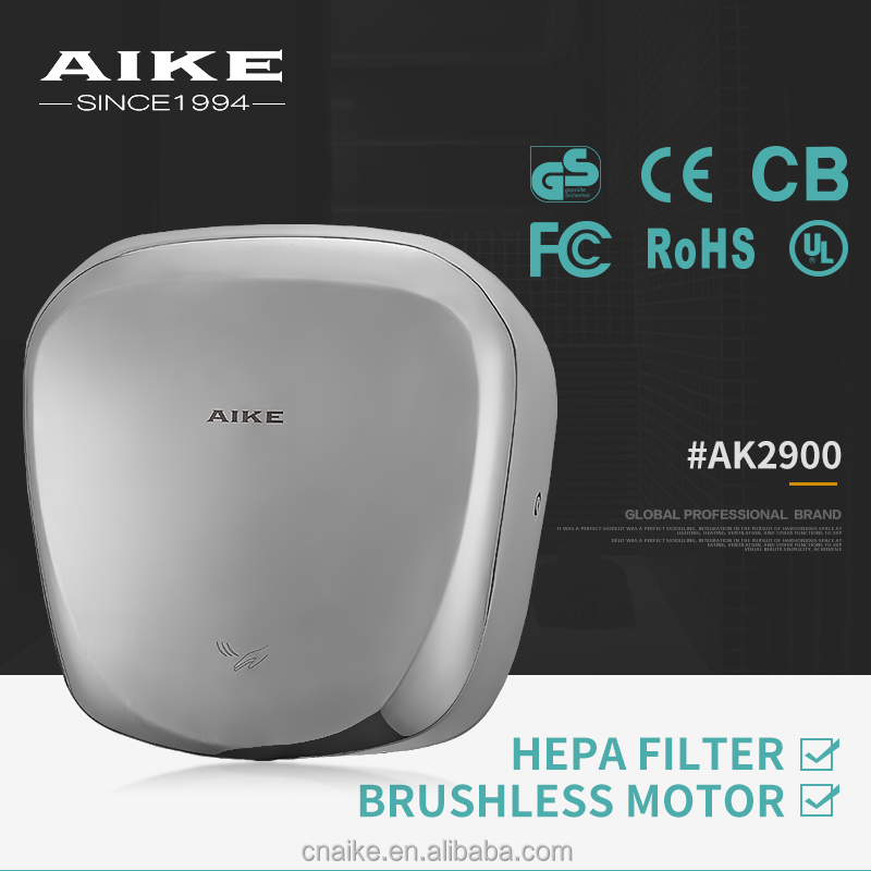 2016 CHINA AIKE New Stainless Steel Automatic High Speed Jet Air Hand Dryer With Hepa filter