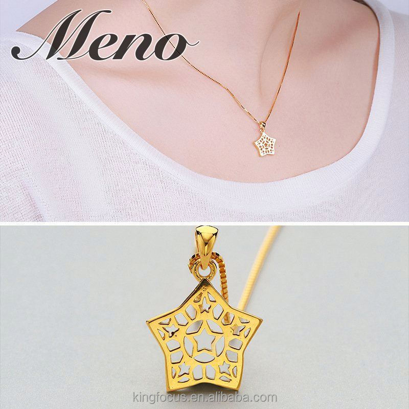 Meno 925 sterling silver delicate 18K gold plated hollow star pendant neckalce