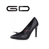 New fashion lady studded high heel black dress shoes 2015