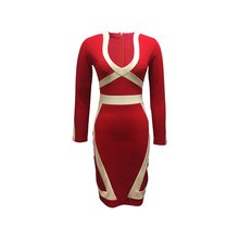 Fashion Collection Women Smart Casual Polyester Spandex Red Color Dress Cut and Sew Effect