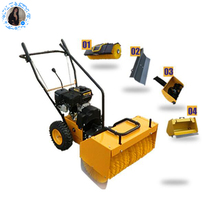 recoil start road sweeper broom manual push street sweeper