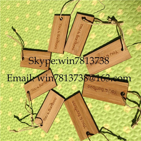 Personalized Blank Bamboo Wooden Gift Tags High Quality Hang Tags Wood Disposable Key Tags With Rope