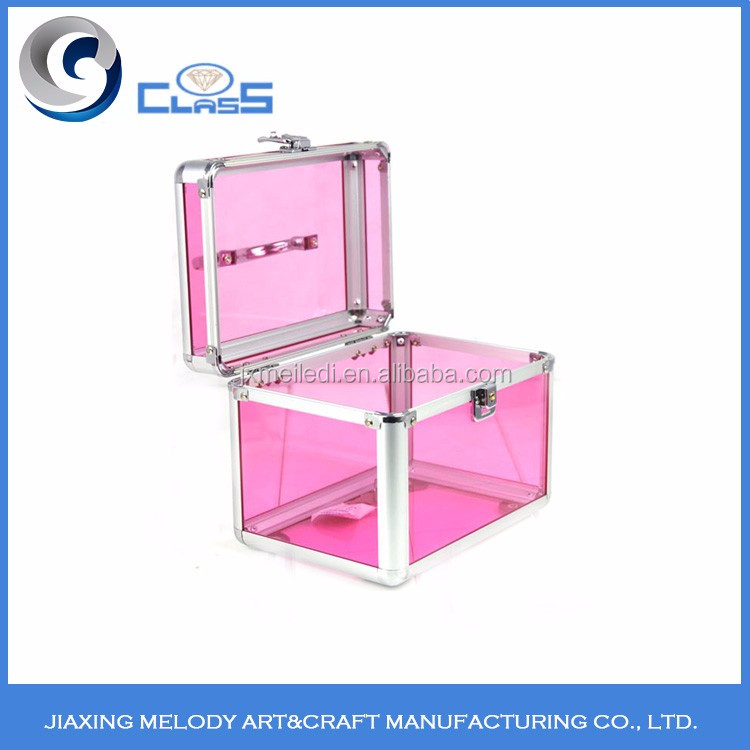 Portable pink vanity container aluminum beauty case aluminum beauty cosmetic makeup case