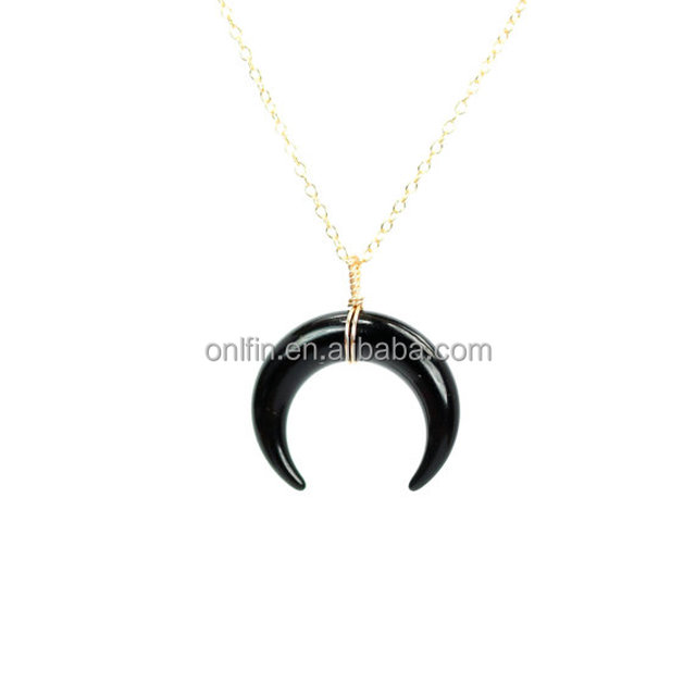 Sterling Silver Wtih A Wire Wrapped Double Horn Neckalce On 14k Vermeil Necklace