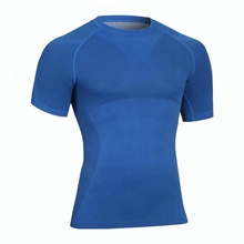 Men's Nylon Sweat Absorber Breathable Short Sleeves <strong>Sports</strong> Tight Tops