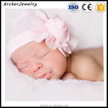 New Baby Girl Boy Crochet Knit pearl Chiffon Flowers Headband autumn and winter A warm hat HA-1121