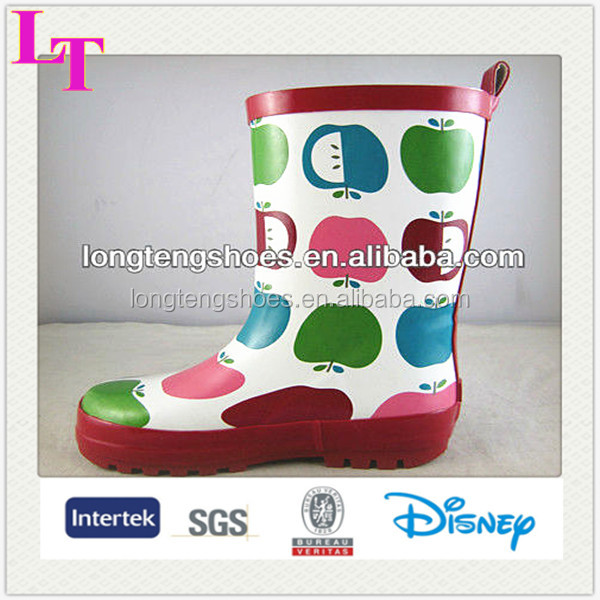 cute fancy apple printing rain boots shoes rubber